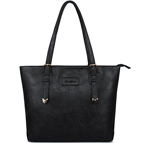 ZMSnow Vegan Leather Tote Designer Handbags for Women Girls - Black Designer