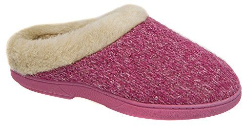 Ladies Coolers Pink Knitted Warm Lined Ski Back Mule Slippers SzFyUYLCN