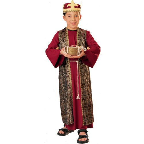 Three Wise Men Child Costume Gaspar (red with crown) - (Child Wise Man Costumes)