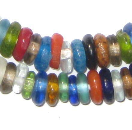 African Disk Recycled Glass Beads - Full Strand of Eco-Friendly Ghanaian Rondelle Beads - The Bead Chest (Bright Medley)
