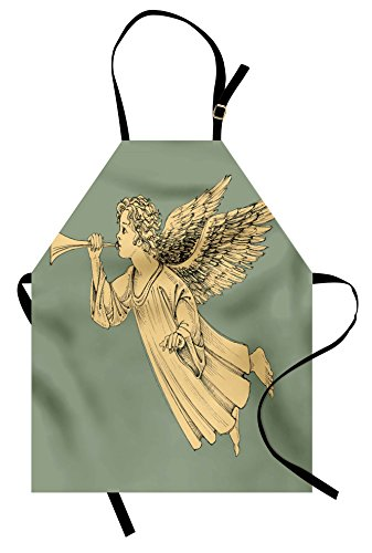 (Ambesonne Christmas Apron, Flying Christmas Angel with Wings Playing Trumpet Mythological Artwork, Unisex Kitchen Bib Apron with Adjustable Neck for Cooking Baking Gardening, Yellow Mint)