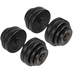 Best Choice Products 64lb Set of 2 Adjustable Weight Fitness Exercise Dumbbells for Bicep, Tricep, Body Workout w/Barbell Plates, Screw Collars Black