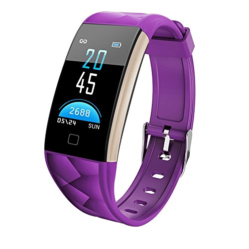 Orcbee  _T20 Color Screen Bluetooth Smart Watch Heart Rate Monitor Smart Band (Purple)