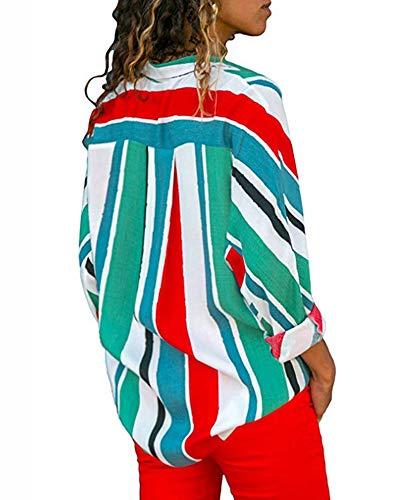 en Vert Up Manche Tunique Top Button Ray Longue Multicolore Col Blouse Blouse Femmes Chemise V 4 xqCwa1I56