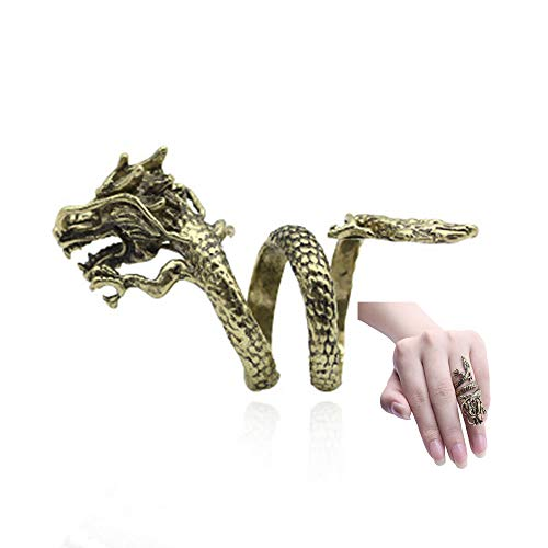 Ring Dragon Antique (RUIZHEN Antique Bronze Dragon Animal Finger Ring Girls (Bronze))
