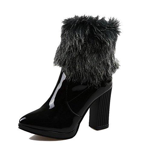 Solid High AmoonyFashion Black Toe Materials Closed Boots Women's Blend Heels Heels Block 0AxBxqfw7