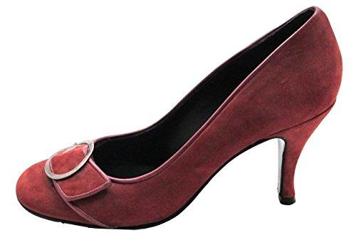Anna Bonnella Womens En Cuir Italien À Bout Rond Robe / Casual Daim Chaussures Prune