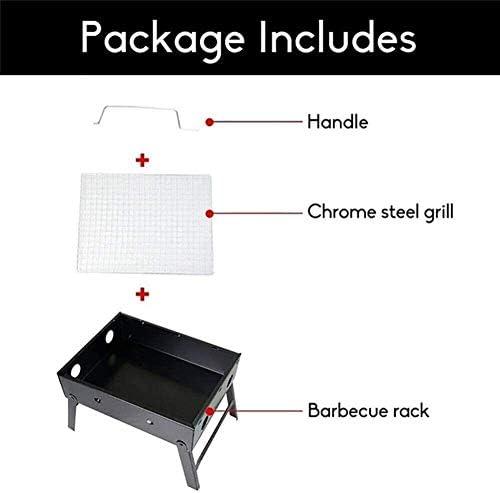 LUCKING Barbecue en Plein air Portable Pliant Famille Rassemblant Barbecue en Acier Inoxydable Pliant Charbon De Bois Pique-Nique Grill pour Pique-Nique Jardin Camping