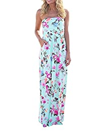 Women Strapless Maxi Vintage Floral Print Graceful Party Long Dress