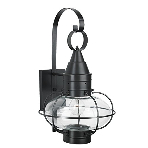 (Norwell Lighting 1512 Medium Wall Mount Outdoor One Light Classic Onion (Black w/Clear Glass))