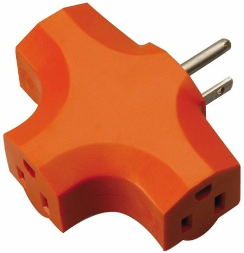 Coleman Cable 09906 3-Outlet Power Adapter, Orange 6 Pack