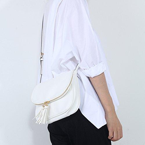 Bandoulière Tassel en Sacs Femmes épaule Brun Cuir PU Sac Blanc nFqpwTpx