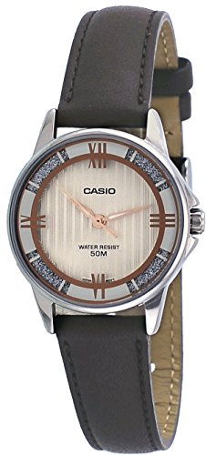 Casio LTP1391L-5AV Women's Enticer Brown Leather Band Crystal Accented Gold Dial Analog Watch