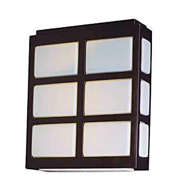 Maxim 53592WTMB Packs LED Outdoor Wall Sconce, Metallic Bronze Finish, White Glass, PCB LED Bulb , 60W Max., Wet Safety Rating, Standard Dimmable, Shade Material, Rated Lumens