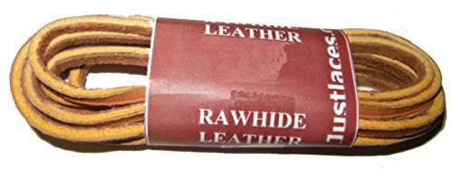 32 Inch Tan Rawhide Leather for All Quality Footwear Boat shoes 1/8 Square Cut (2 Pair (Tan Rawhide)