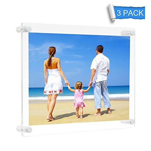 NIUBEE 11x14 Clear Acrylic Wall Mount Picture Frame Floating Frames for Photography Display (3Pack)
