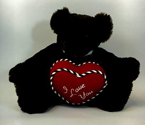 "Vermont Teddy Bear ""Romantic at Heart"" I Love You Dark Brown Teddy Bear 15"""