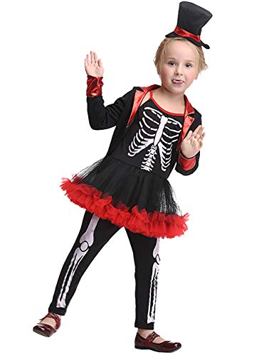 JAPANSCHOICE Skeleton Ghoul Miss Bone Scary Halloween Costume Set for Girls Age 3-9,M(for Height of 105-115cm/41.3