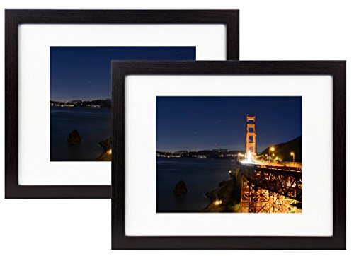 (Frametory, 11x14 Black Wood Grain Finish Looking Photo Frame with Ivory Color Mat for 8x10 Picture & Real Glass (2, 11x14))