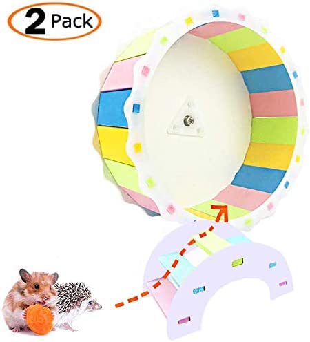 Amazon Com Mumax Hamster Wheel Toy Silent Spinner Wooden Wheel Easy Attach To Wire Cage Funny Exercise Toys With Free Rainbow Bridge For Syrian Hamsters Rats Small Animals Gerbil Hedgehog Chinchilla Guinea