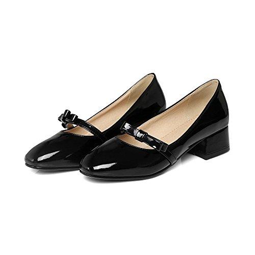 Schuhe amp;X Block Quadratischen Flach Mund QIN Women's Kopf fvxZqR4aw