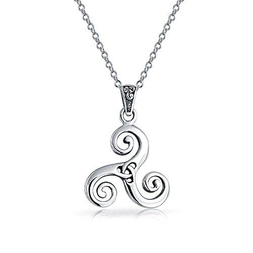 Large Triskele - Celtic Triskele Triquetra Trinity Knot Viking Pendant Necklace For Men Women Oxidized 925 Sterling Silver