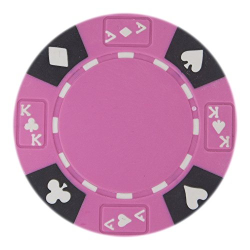 Composite Chips Denominated Poker Clay - Brybelly 50 Pink Ace King Suited Clay Composite 14 Gram Poker Chips