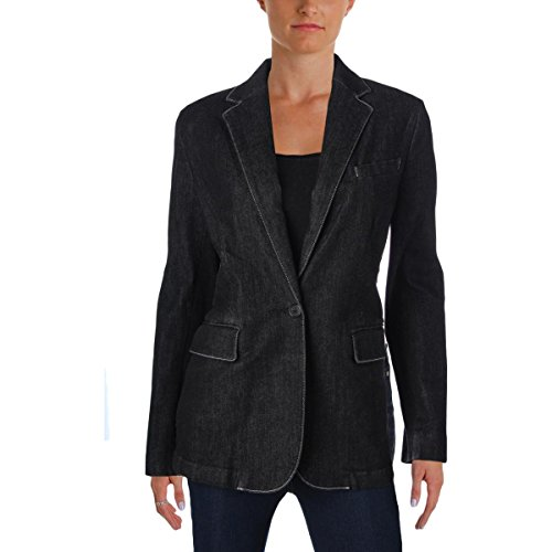 Lauren Ralph Lauren Womens Denim Stretch One-Button Blazer Black (Denim Stretch Blazer)