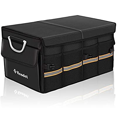 Knodel Sturdy Car Trunk Organizer with Foldable Cover, Heavy Duty Collapsible Cargo Storage Container, Multipurpose Portable Storage Bin and Carrier for Car, Waterproof