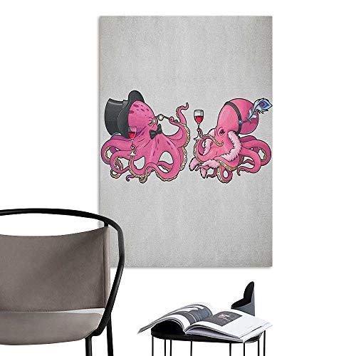Williasm Home Decor Decals Mural Octopus Cartoon Art Illustration of Octopuses in Fun Retro Costumes at Party Vintage Style Pink Grey 3D Decorative Sticker W16 x H20