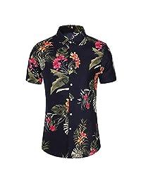 Turn Down Collar Shirts for Men,Fashion Slim Tops Loose Hawaii Short Sleeve Printed T-Shirt