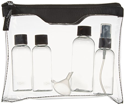 Sicherheitstoilettentasche für Ihre Flugreise, inkl. 2x50 ml, 1x80 ml Fläschchen und 1 Zerstäuber mit Auffülltrichter (Lieferumfang: 1 Stck Sicherheitstoilettentasche mit Inhalt)