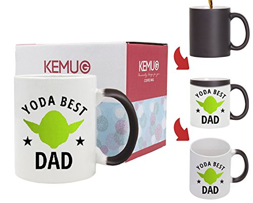 Kemug - Father's Day Yoda Best Dad Pun: 11oz Ceramic Coffee Mug - Heat Color Changing Mug Black