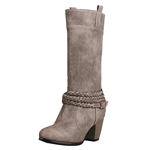 Heel Mid Buckle Boots High Vintage Grey Carolbar Women's Calf qzOtZx