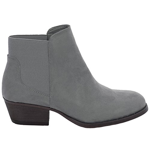 Fantasia Boutique Ladies Low Chunky Block Heel Elasticated Faux Suede Chelsea Ankle Boots Grey xeqPduW