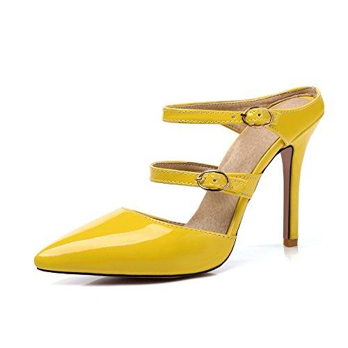 avec Peu Bouche Arrière Flop Sandales Fait Yellow Haut Retour Flip Boucle Profonde Femmes Talon Fine wR1W1Pa
