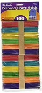 BAZIC Colored Craft Sticks, Assorted, 100 Per Pack