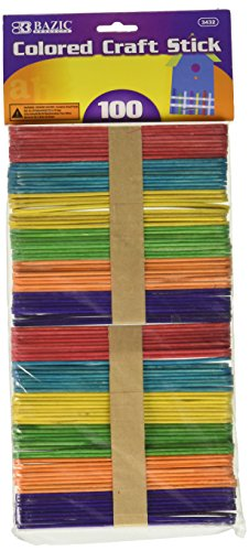BAZIC Colored Craft Sticks, Assorted, 100 Per Pack (Colored Sticks)