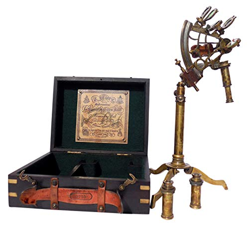MAH Astrolabe Brass Ship Beautiful Stand Sextant with Hardwood Box C-3231-A ()