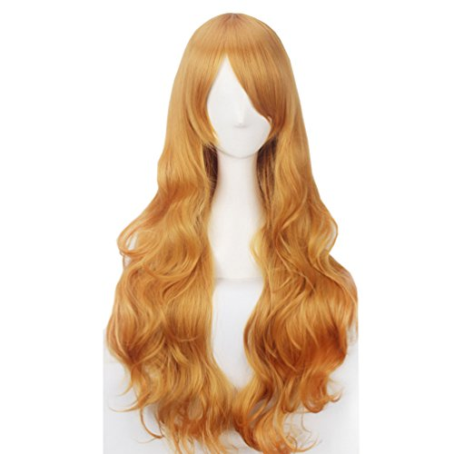 Girls Orange Braid Wig (Yesui Khaki Long Curly Wigs 32'' 80cm with Side Bangs Synthetic Heat Resistant Hair for Women Cosplay Party Wig Orange Yellow)