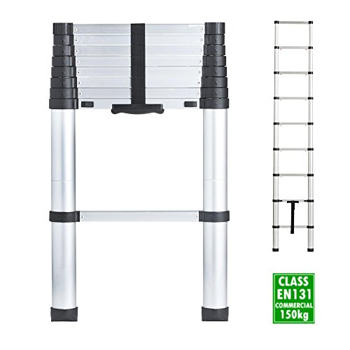VonHaus 2.6m Telescopic Aluminium Extendable Ladder – Soft Close Anti Pinch Finger Protection – Anti-Slip Rungs / Non-Slip Rubber Feet - 150Kg Heavy...