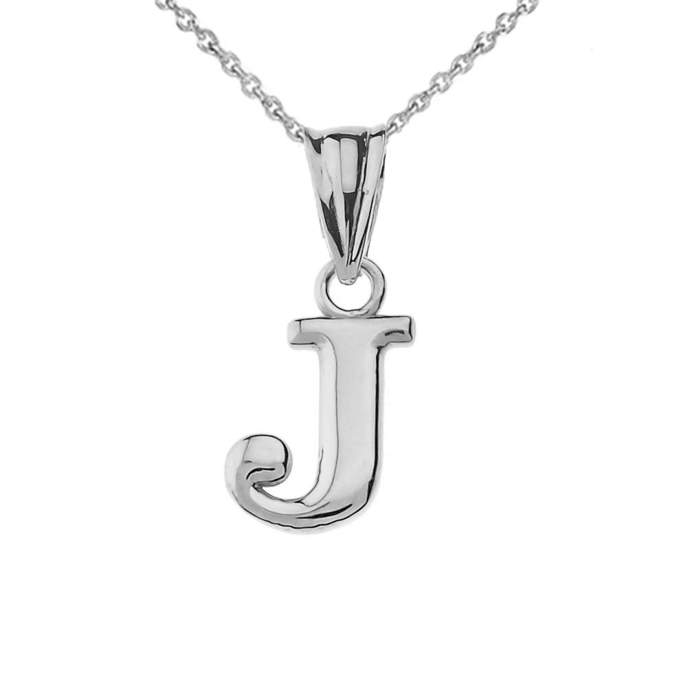 Fine Personalized Initial J Charm Pendant in Solid 14k White Gold