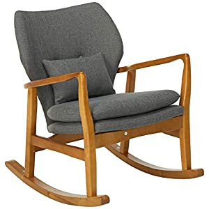 Christopher Knight Home Balen Mid Century Modern Fabric Rocking Chair (Grey)