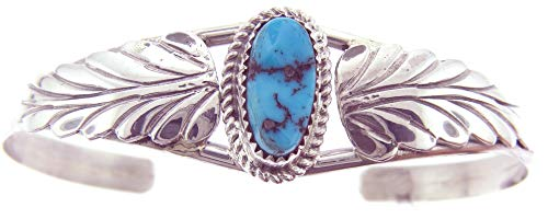 Rich Peel USA Made by Navajo Artist Ida McCray: Sterling Silver Bracelet with Sleeping Beauty Turquoise