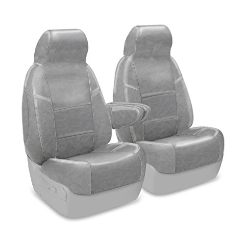 Coverking Custom Fit Front 50/50 High Back Bucket Seat Cover for Select Ford Bronco Models - Premium Leatherette Solid (Light Gray)
