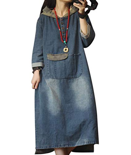 YESNO YH4 Women Casual Long Maxi Denim Dress Plus Size Button Up Front Camo Color Hoodie Unique Pocket Design -