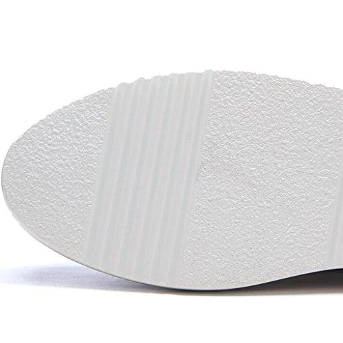 Pendenza Bianco Di Casual Spesso Poliuretano Alti Sandali Inferiore Estate Punta Cava Tacchi Mezzo Pistone Scarpe Avvolgere Femminile xvpCFq