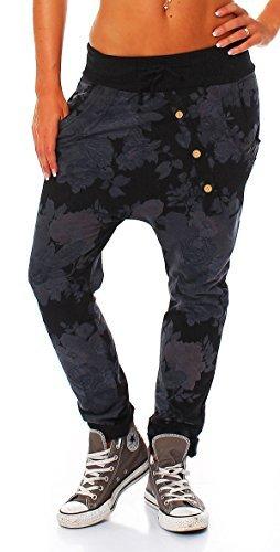 Moda Italy – Pantalon – Boyfriend – Femme Noir Noir taille unique –  Noir – taille unique
