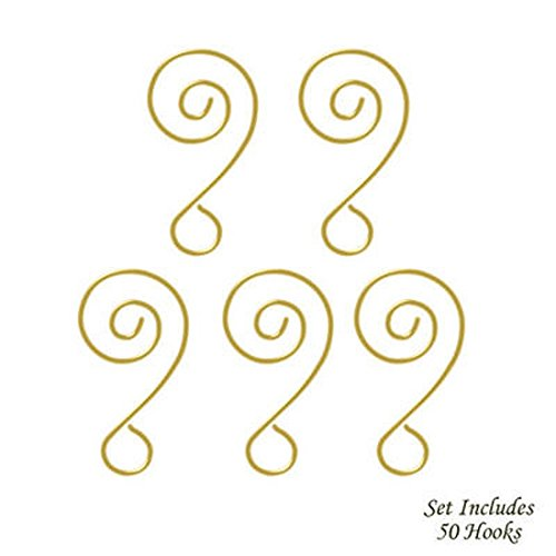 Darice Scroll Wire Ornament Hook Add a Bead - 2'' GOLD 6pk/108pcs.