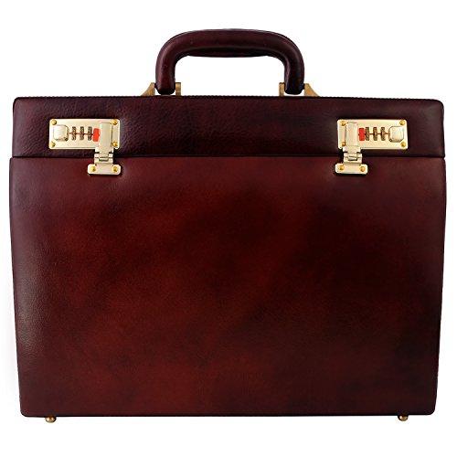 Slim Attache - Zint Men's Genuine Leather Slim Hard Briefcase Attache - Vintage Style